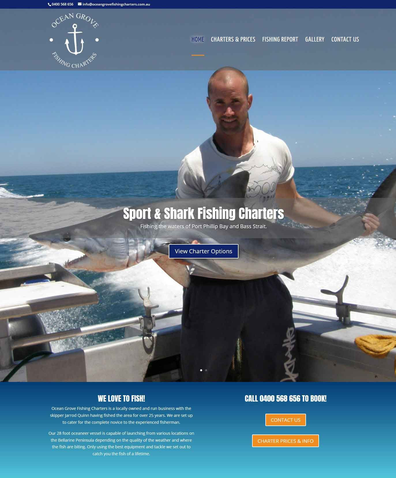 web design ocean grove fishing charters